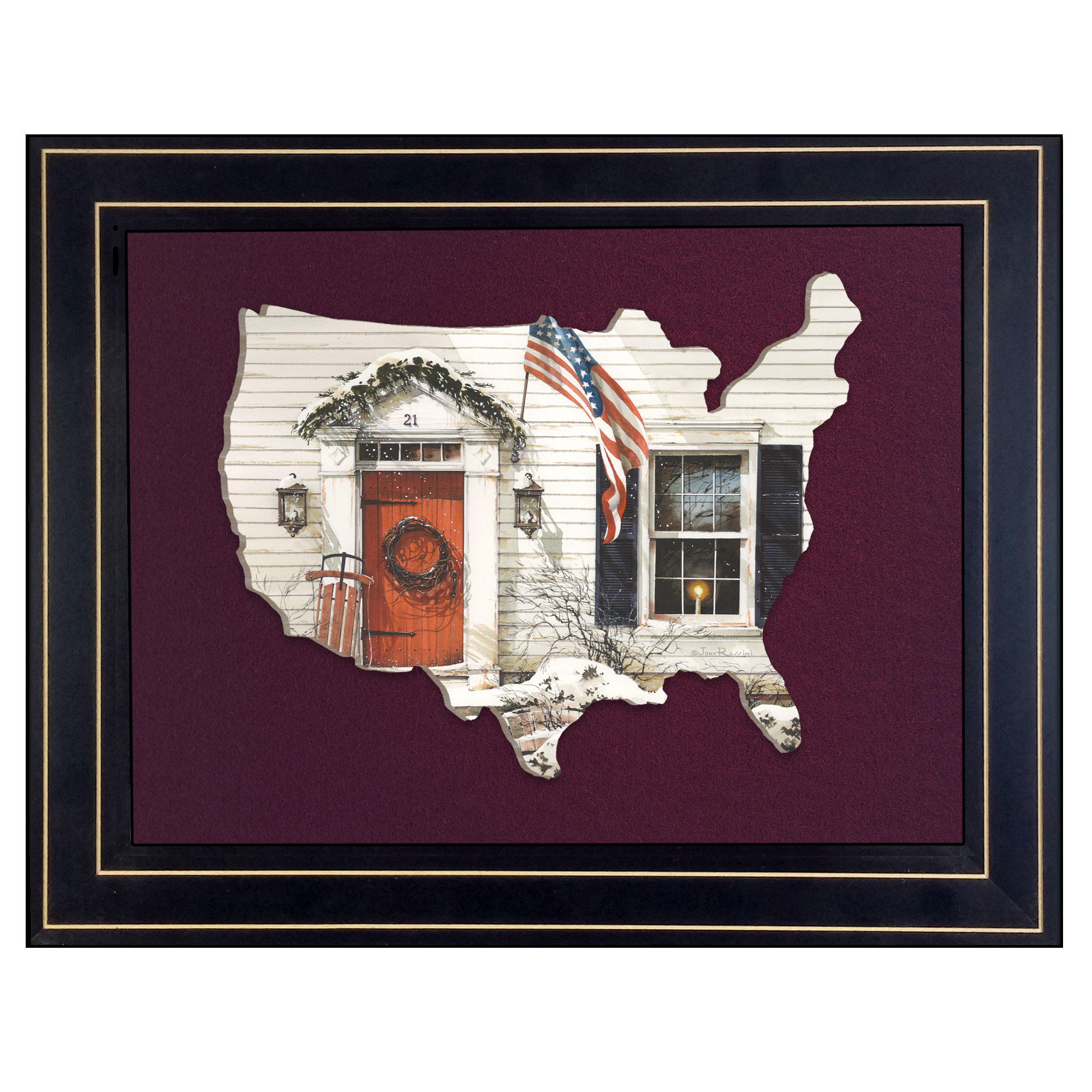 Jr177Usa-B-704G 21 Main Street, by artisan John Rossini, 3D framed art printed directly on wood in the shape of the United States, then mounted on a felt background, in an attractive 19 x 15 black frame. Framed cutout of the outside of a farm house in the winter; sled beside the door, garland over the door way, candle in the window, wreath on the door, and the American flag flying high. Arrives ready to hang. Made in the USA by skilled American workers. * Textured Artwork with a 'rolled on' acid-free acrylic coating to create a canvas painting effect. * UV Protectant Coating protects artwork from fading. No glass is necessary. * Moulding adds natural beauty to the framed art. Frame is keyholed for the easy hanging. * This Fine Home Decor piece made in the USA by Woman Owned Business (Wbe) is a perfect gift for a friend or relative. *