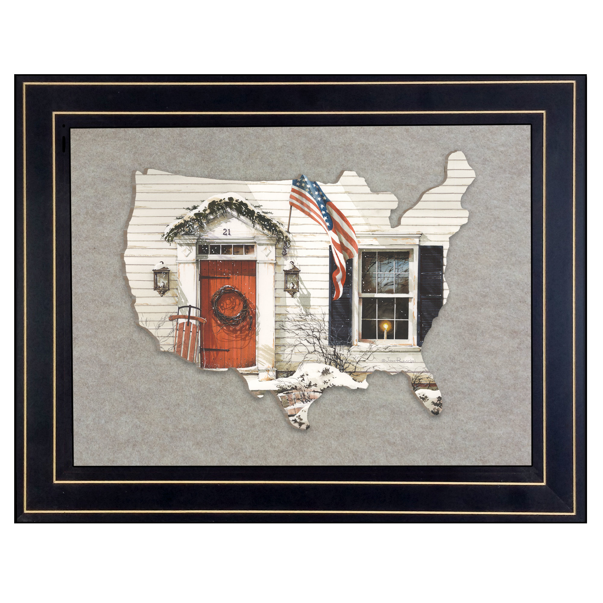 Jr177Usa-E-704G 21 Main Street, by artisan John Rossini, 3D framed art printed directly on wood in the shape of the United States, then mounted on a sand color felt background, in an attractive 19 x 15 black frame. Framed cutout of the outside of a farm house in the winter; sled beside the door, garland over the door way, candle in the window, wreath on the door, and the American flag flying high. Arrives ready to hang. Made in the USA by skilled American workers. * Textured Artwork with a 'rolled on' acid-free acrylic coating to create a canvas painting effect. * UV Protectant Coating protects artwork from fading. No glass is necessary. * Moulding adds natural beauty to the framed art. Frame is keyholed for the easy hanging. * This Fine Home Decor piece made in the USA by Woman Owned Business (Wbe) is a perfect gift for a friend or relative. *