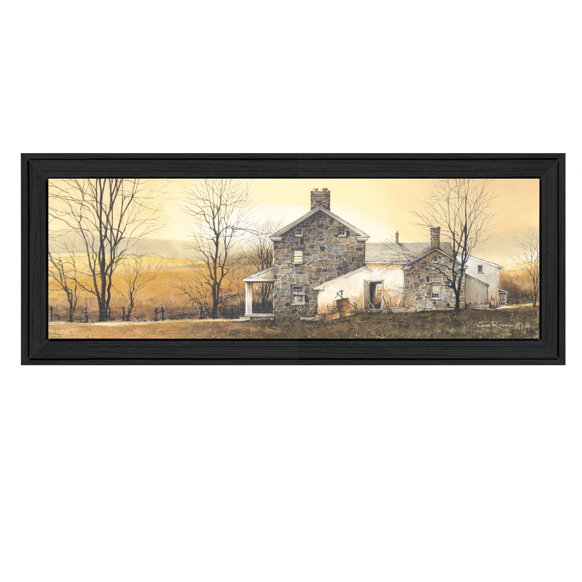"Jr206-405""a New Day"" is a 21"" x 9"" black framed print. This artwork features a farm house and dawn. This totally American Made wall decor item features an attractive frame, a textured canvas like finish so no glass is necessary and is ready to hang. * Made in the USA * Women Owned (Wbe) * Textured Artwork with a 'rolled on' acid free acrylic coating to create a canvas painting effect. No glass is necessary. * UV protectant coating protects artwork from fading. * MDF moulding adds natural beauty to the framed art. Frame is keyholed for ease of hanging."