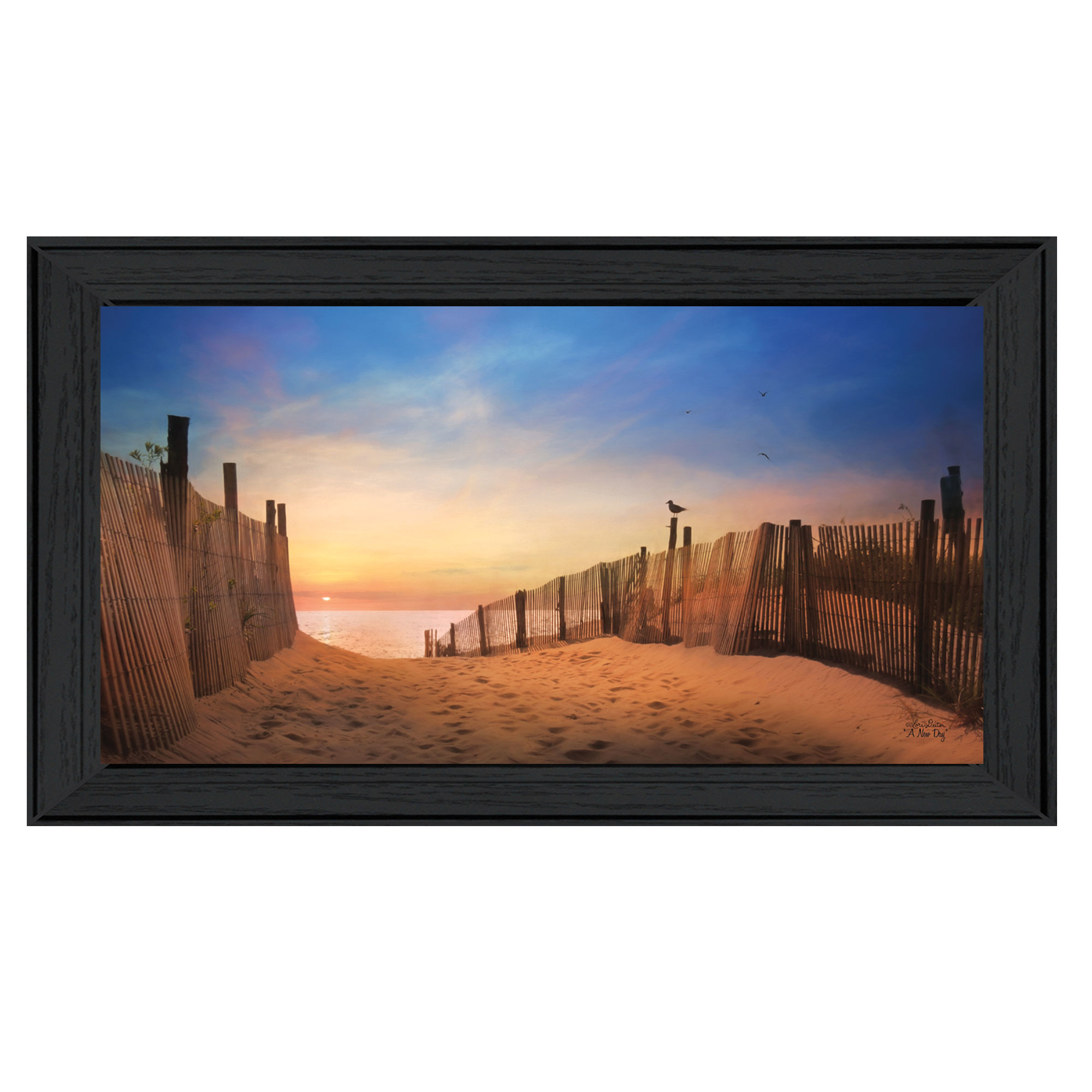 "Ld648-405 ""A New Day"" is a 20"" x 11"" framed art print in a decorative black frame of the art of Lori Deiter. The art shows a beautiful morning at the beach. The print has a protective, archival finish (glass is not needed) and arrives ready to hang. Made in the USA with pride by skilled American workers. * Made in the USA * Women Owned (Wbe) * Textured Artwork with a 'rolled on' acid free acrylic coating to create a canvas painting effect. No glass is necessary. * UV protectant coating protects artwork from fading. * Arrives Ready to Hang"