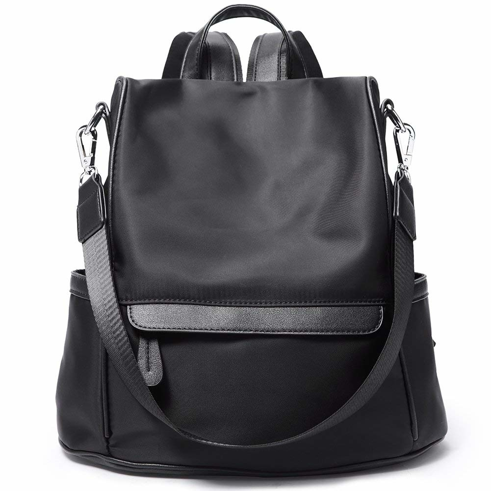 Women Backpack Purse Nylon Fashion Casual Covertible Shoulder Bag Lightweight Water Resistant School Backpack - 2-black (imomoi) photo