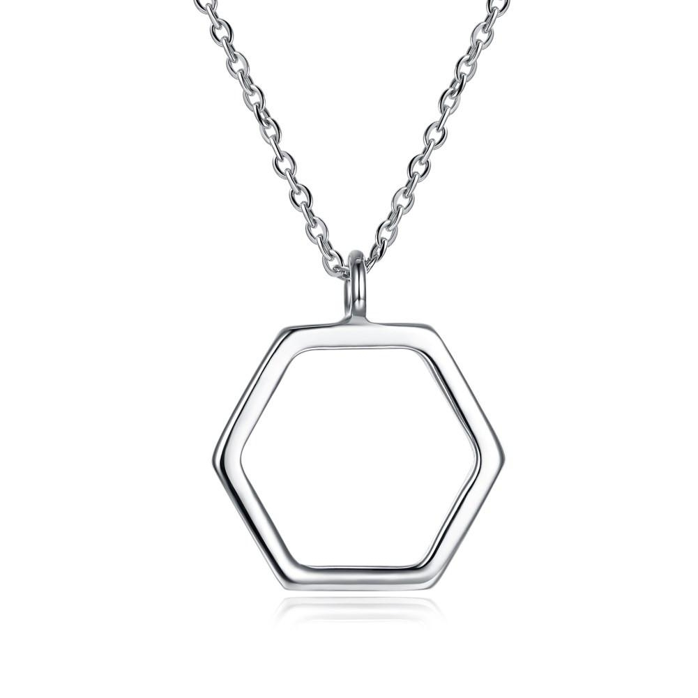925 Sterling Silver Necklace Fashion Hexagon Hollow Pendant Necklace Boutique Pendant Necklace