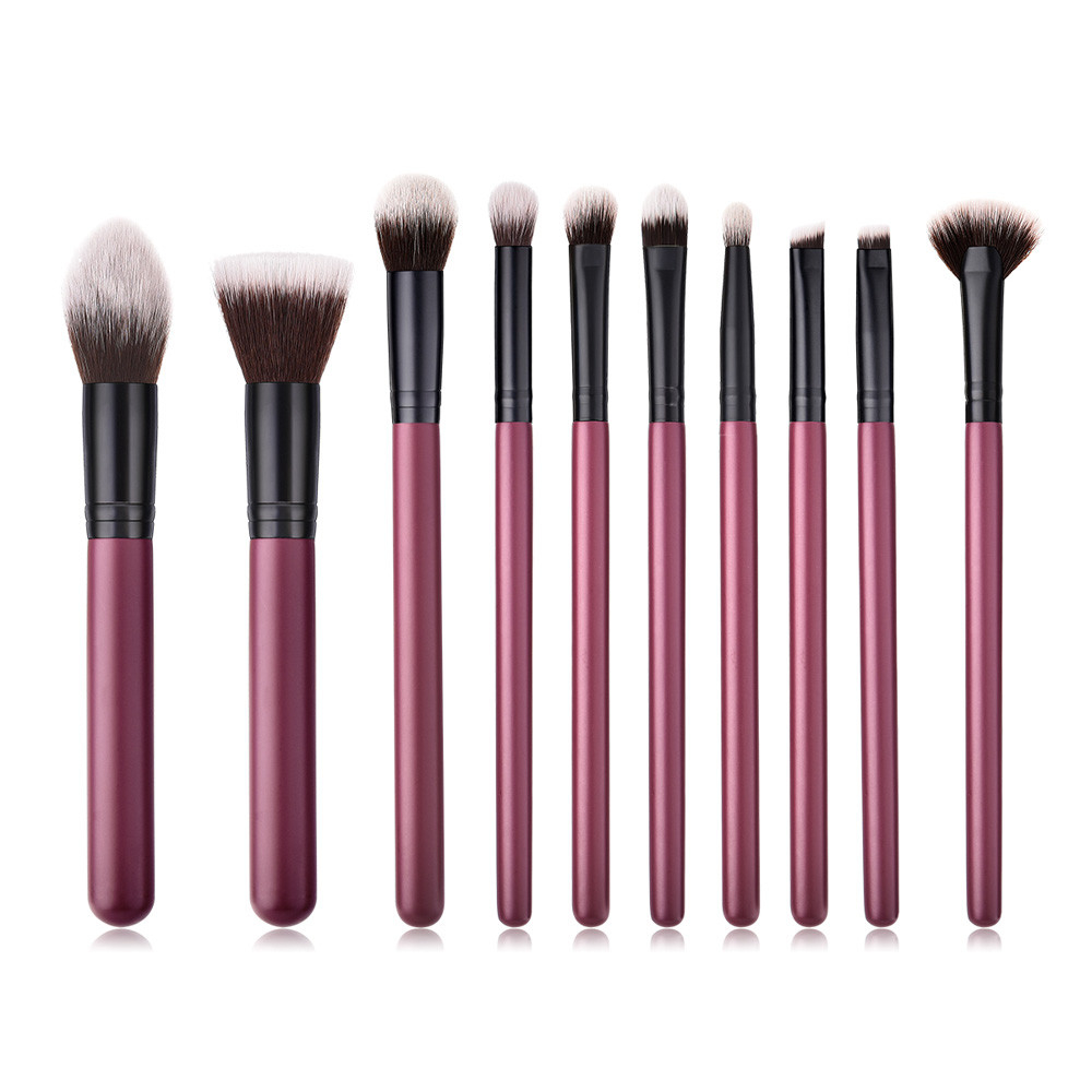 10Pcs Wooden Foundation Cosmetic Eyebrow Eyeshadow Brush Makeup Brush Sets Tools 5b75413c9623524ae46f9a7d