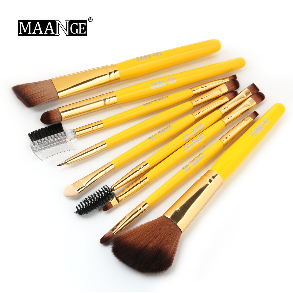 9Pcs Wooden Foundation Cosmetic Eyebrow Eyeshadow Brush Makeup Brush Sets Tools 5b754148d9fd9137c1013af6