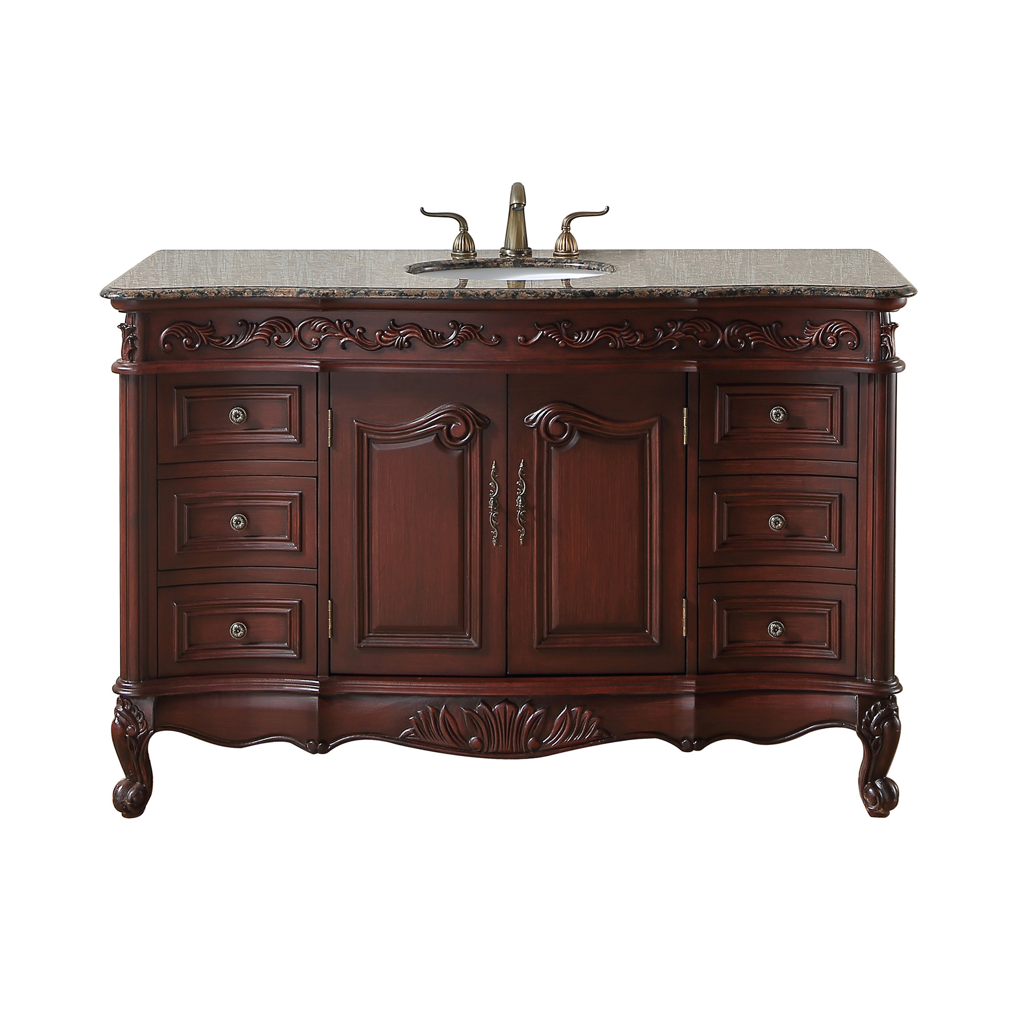 56 inch Princeton Single Sink Bathroom Vanity - Baltic Brown