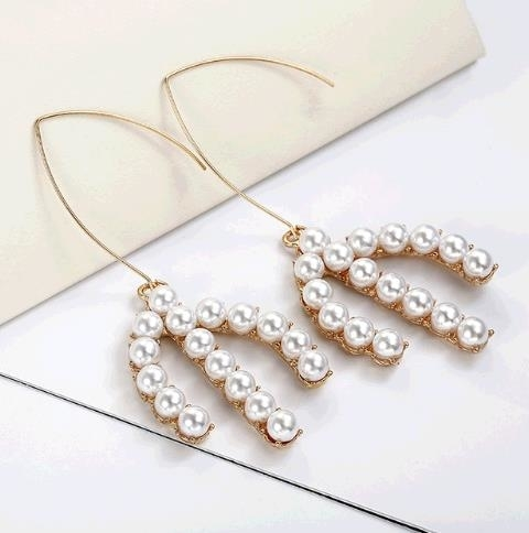 2018 New Fashion Imitation Pearl Drop Earrings Golden Color Cactus Elegant Statement Earrings For Women Dropshipping