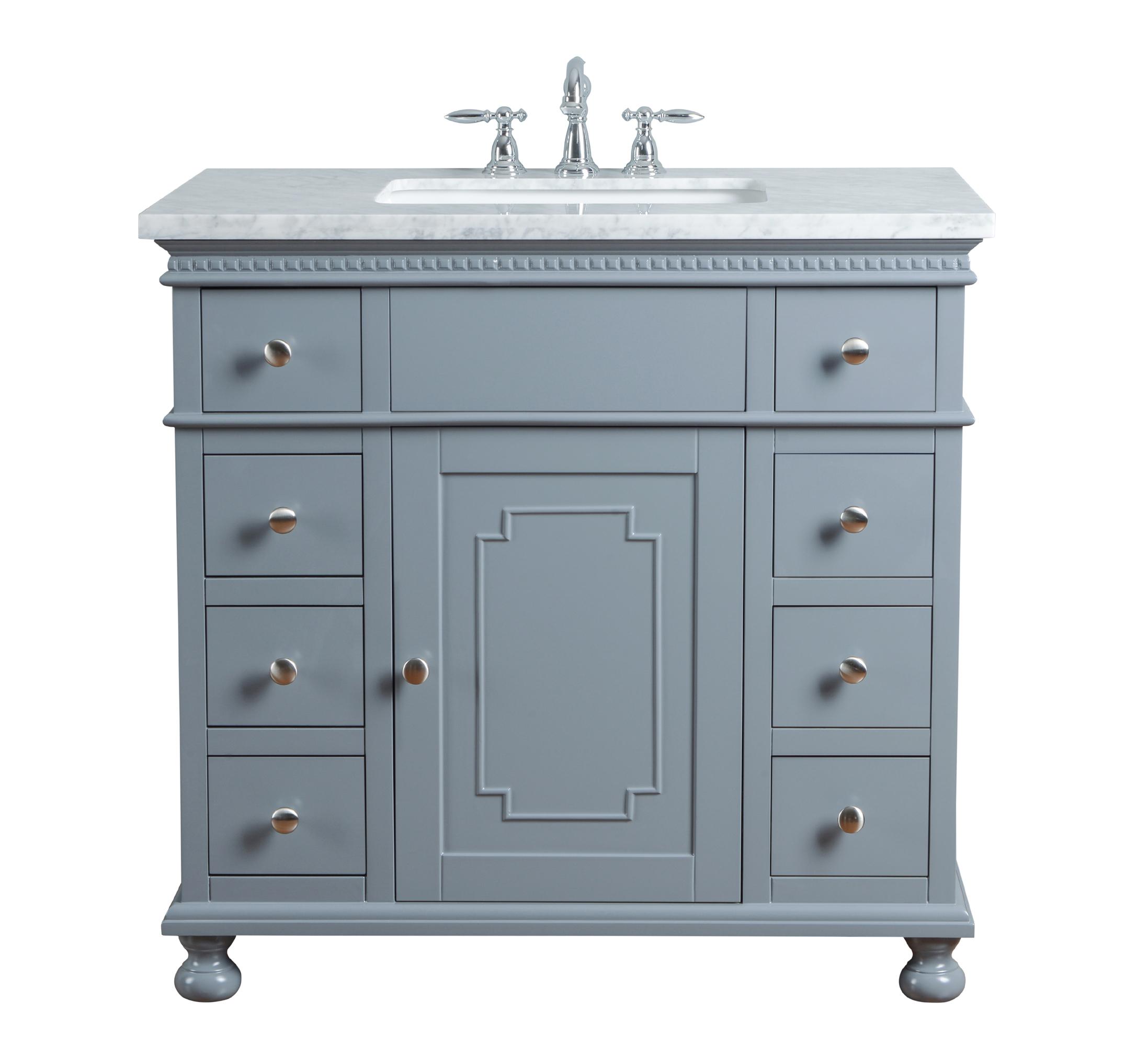 Abigail Embellished 36-inch Single Sink Bathroom Vanity - Grey