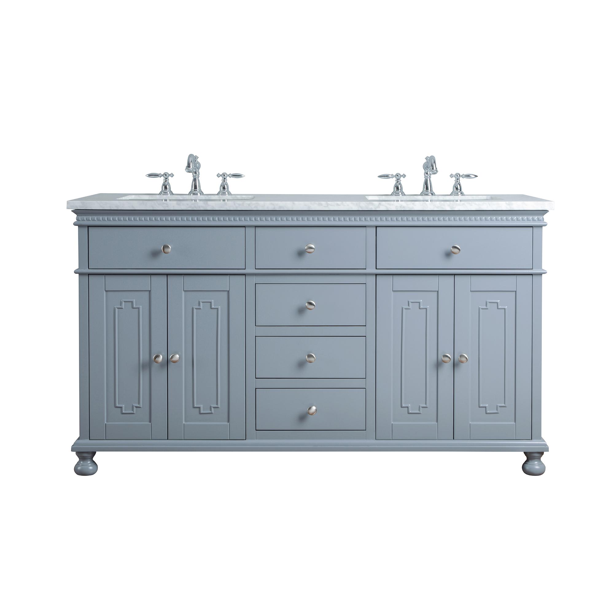 Abigail Embellished 60-inch Double Sink Bathroom Vanity - Grey