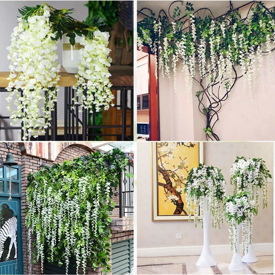 Velraptor Artificial Flowers Ivy Leaf Fake Wisteria Garland Plants Vine Shefinds