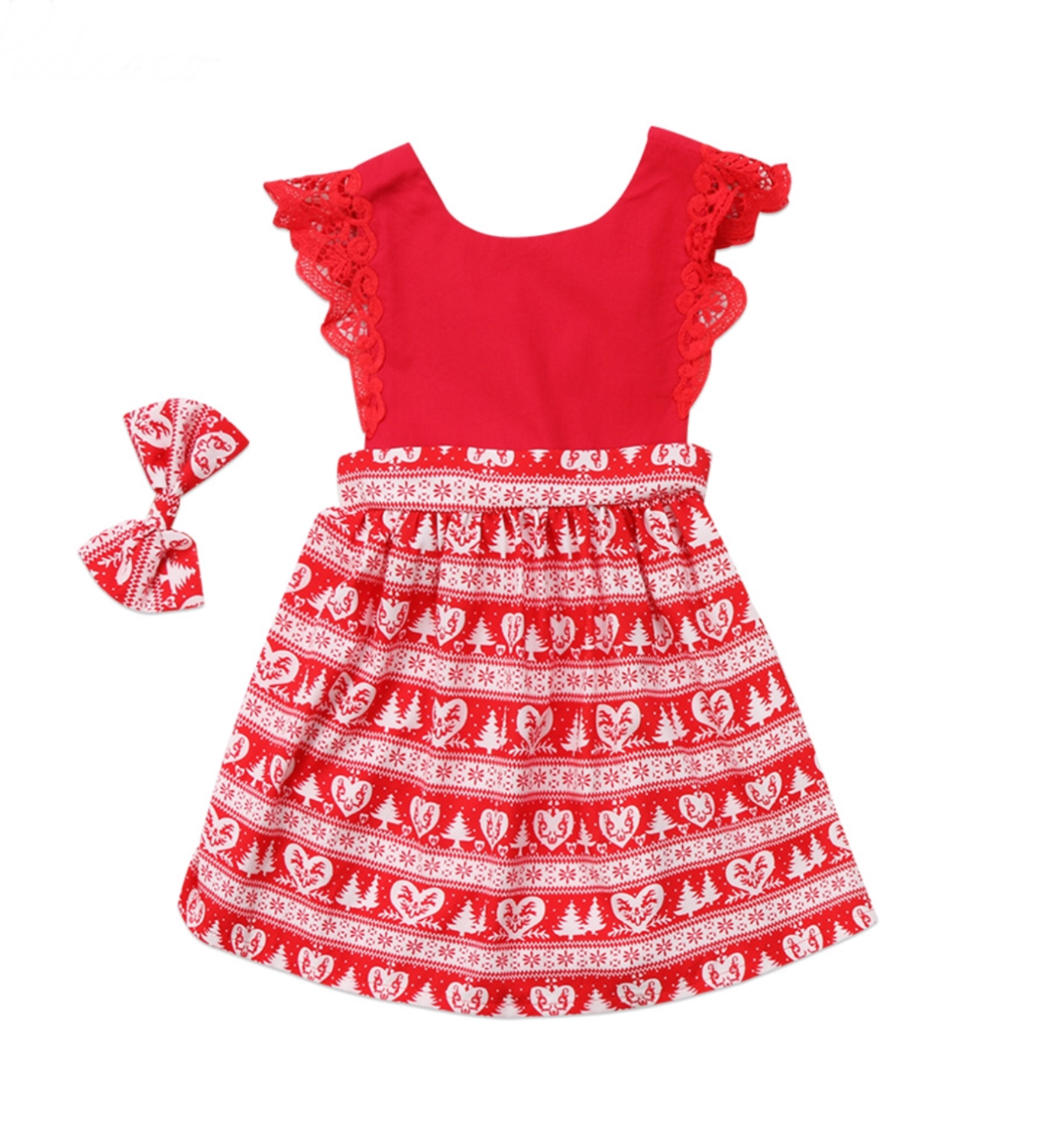 Christmas Kids Baby Girls Toddler Red Party Dress With Bowknot Hair Clip – 3T