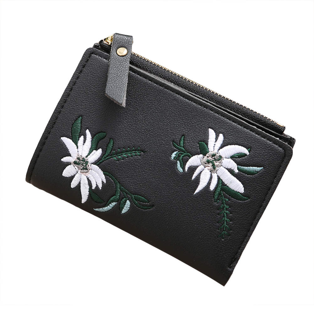 Embroidery Flower Faux Leather Women Girl Coin Purse Card Holder Short Wallet (Bluelans) photo