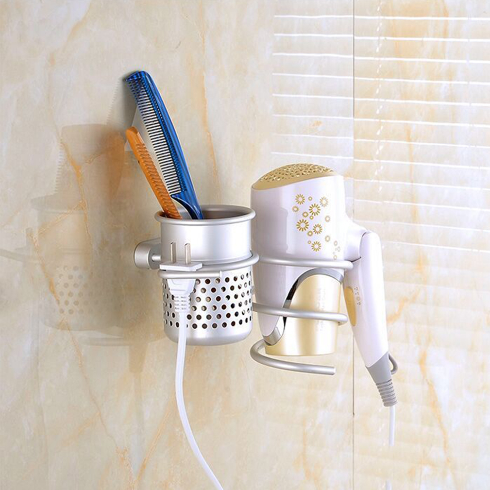 Wall Mount Spiral Hair Dryer Blower Holder Rack with Comb Cup Bracket Storage 5b87ccdb9623525d1602d06e