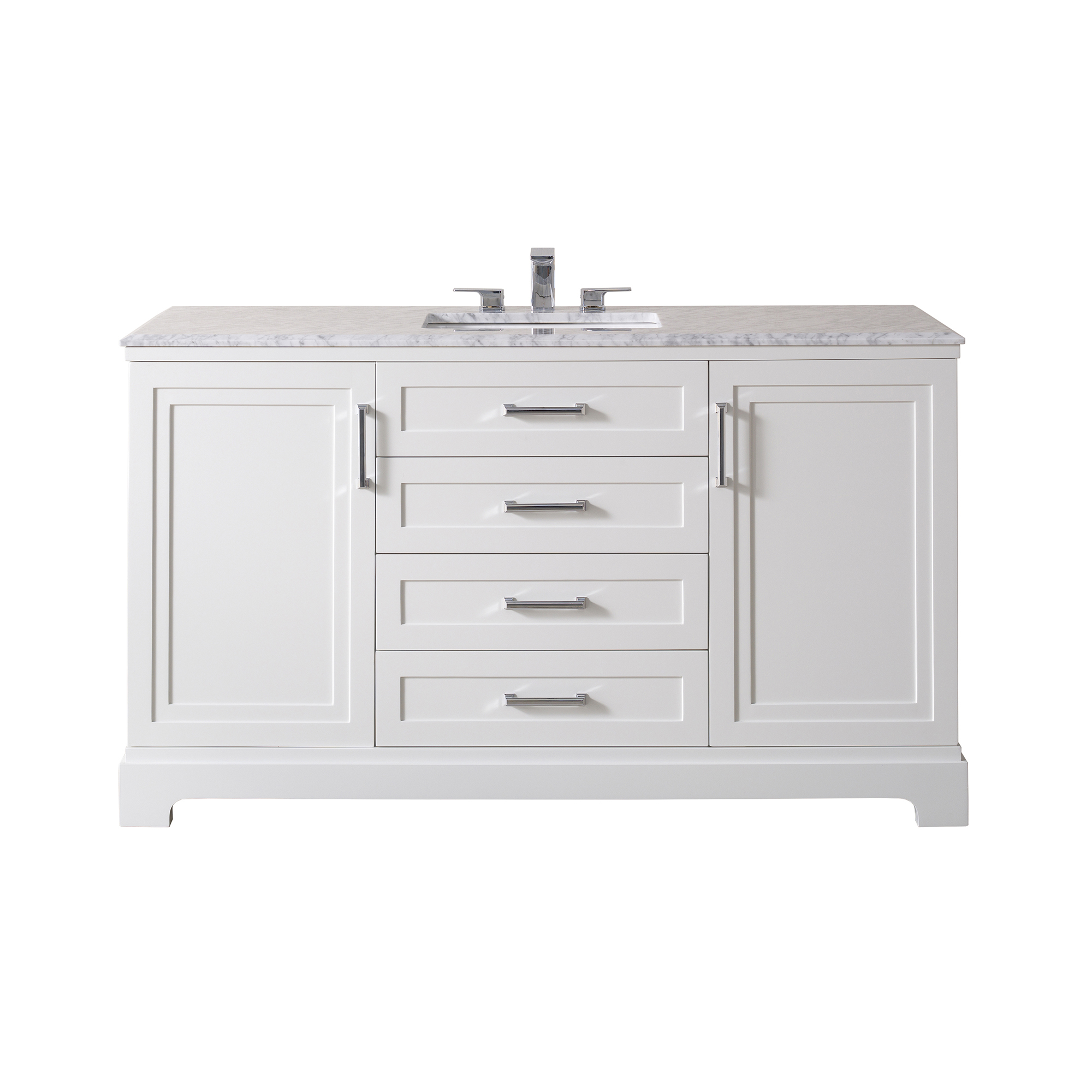 Idlewind 60 Inch White Single Sink Bathroom Vanity with Drain and Faucet in Chrome / Matte Black - Chrome