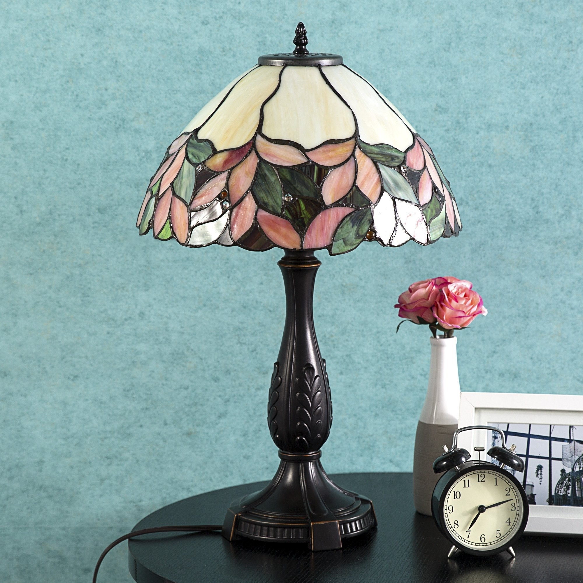 Tiffany Style Table Lamp Victorian Stained Glass Desk Lamp Floral Home Decor