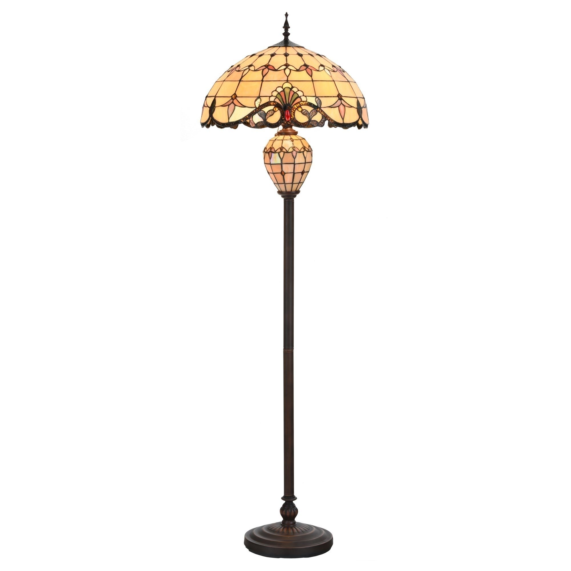 Tiffany Style Table Desk Lamp Victorian Double Lit Stained Glass Base Home Decor Lighting - table lamp