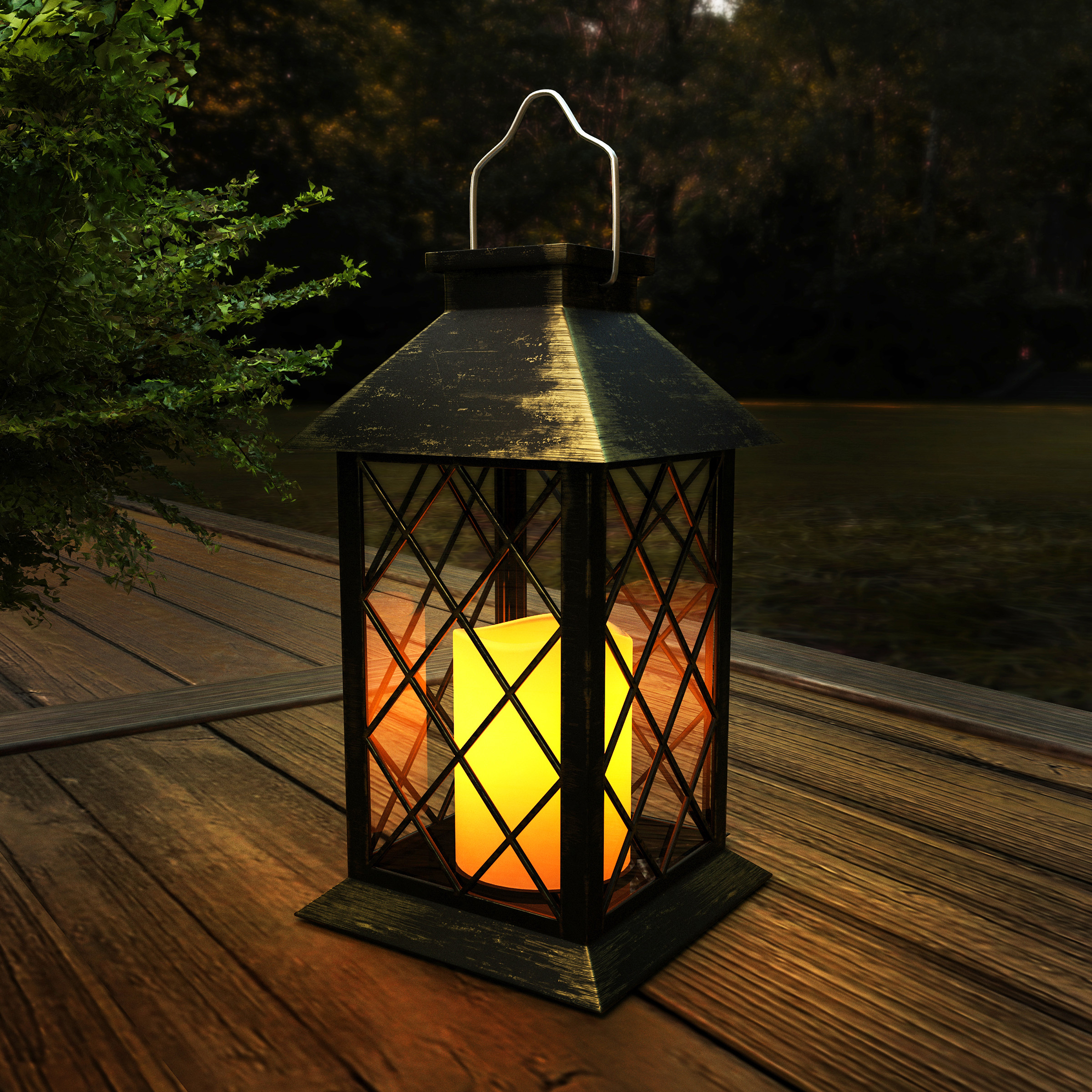 Solar Powered Lantern- Hanging or Tabletop Water Resistant LED Pillar Candle Lamp