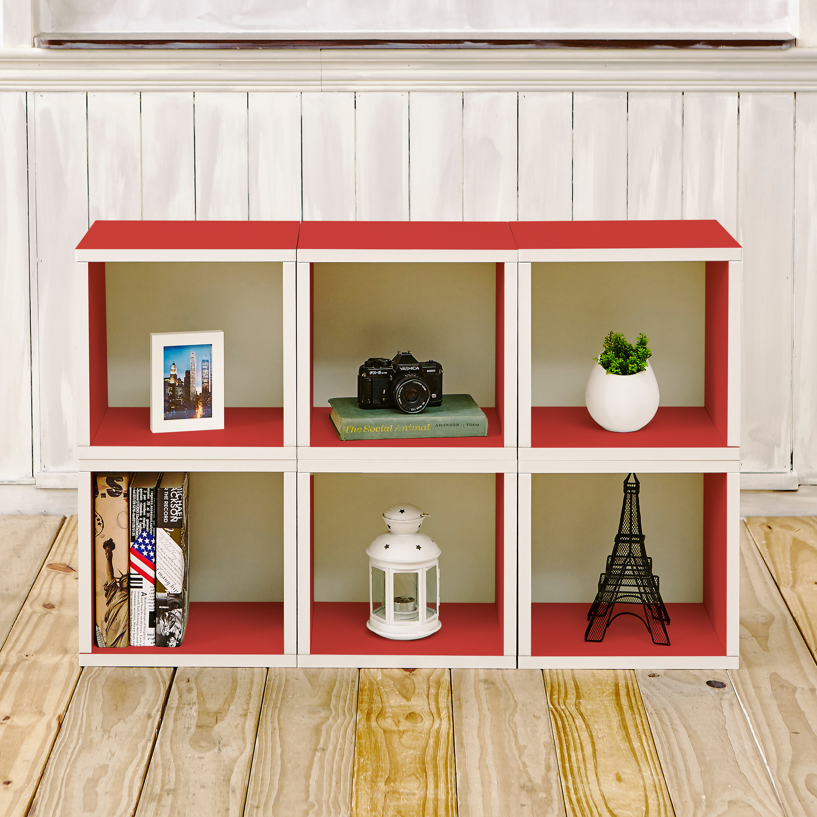 Way Basics Eco Stackable Modular Storage Cubes (Set of 6), Red - Tool-Free Assembly - Lifetime Guarantee