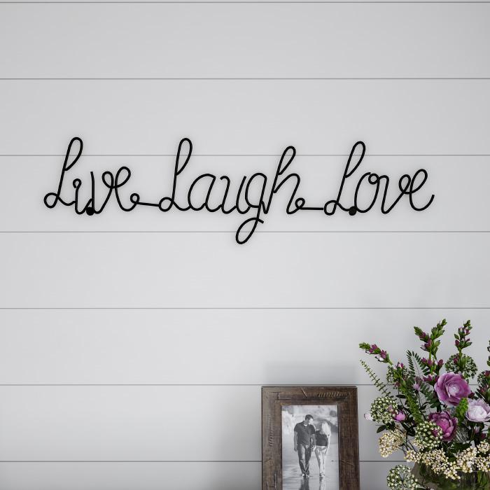 Metal Cutout- Live Laugh Love Cursive Cutout Sign-3D Word Art Home Accent D�cor