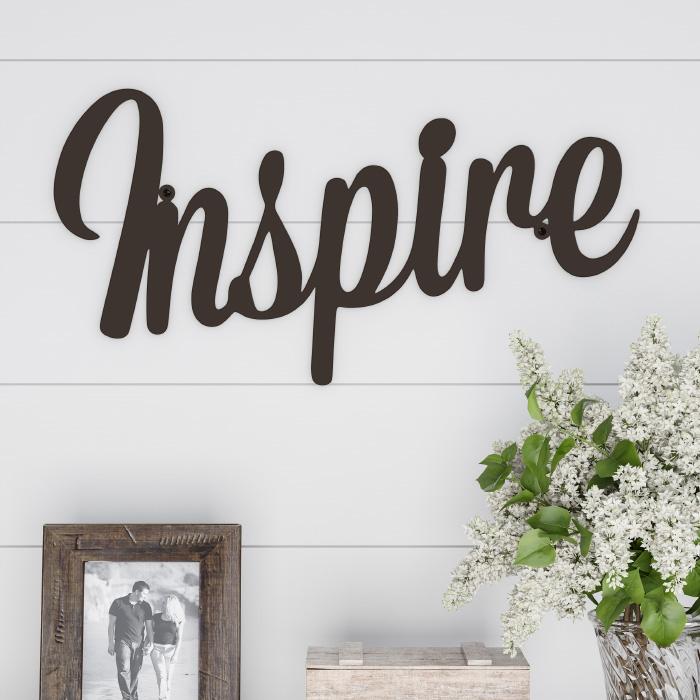 Metal Cutout- Inspire Decorative Wall Sign-3D Word Art Home Accent Decor