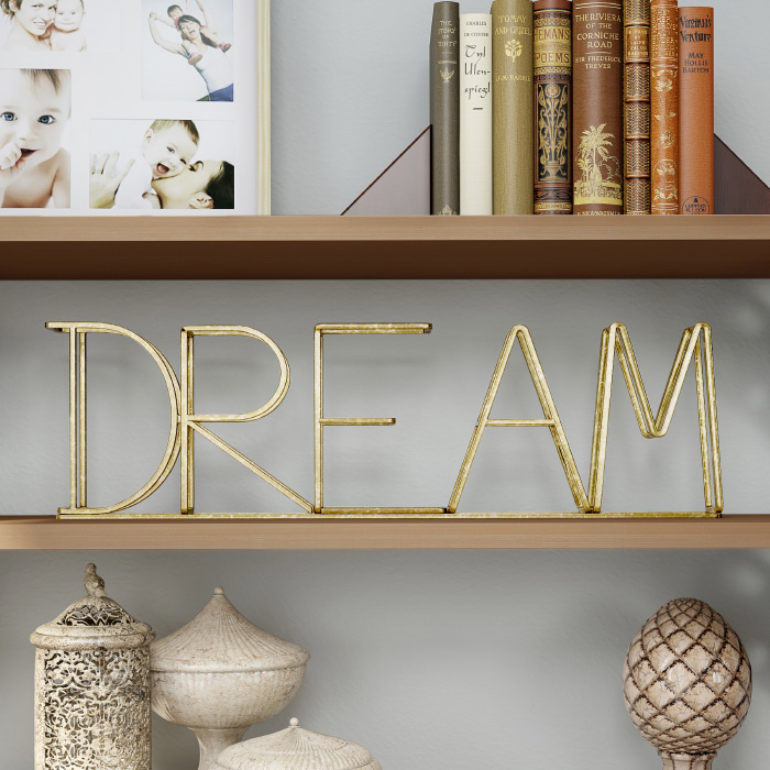 Metal Cutout Free-Standing Table Top Sign-3D Dream Word Art Accent D�cor Gold Metallic Finish