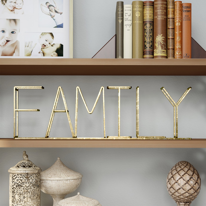 Metal Cutout Free-Standing Table Top Sign-3D Family Word Art Accent D�cor Gold Metallic Finish