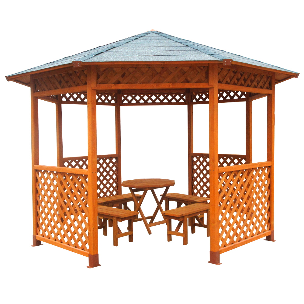 Octagonal Gazebo with Table and Benches