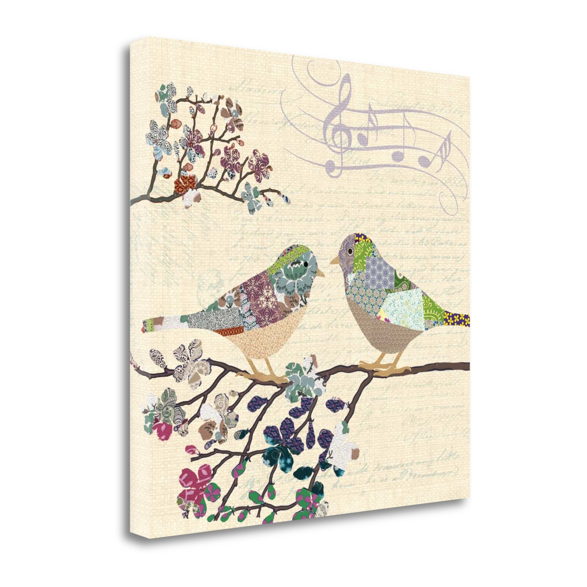 "Patch Work Birds II By Piper Ballantyne, 24"" x 24\"" Fine Art Giclee Print on Gallery Wrap Canvas, Ready to Hang"