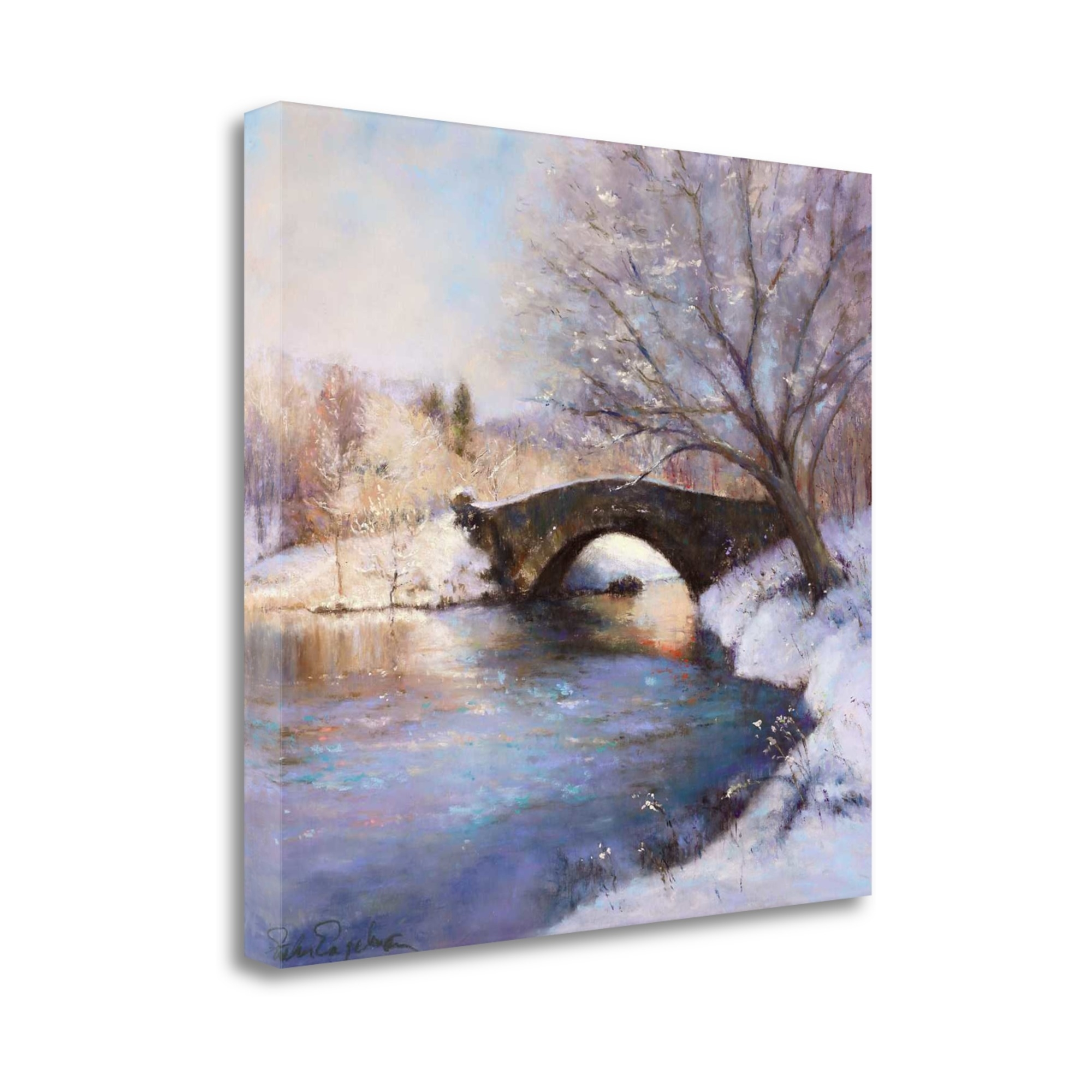 """Central Park Bridge By Esther Engelman, 21\"""" x 21\"""" Fine Art Giclee Print on Gallery Wrap Canvas, Ready to Hang"""