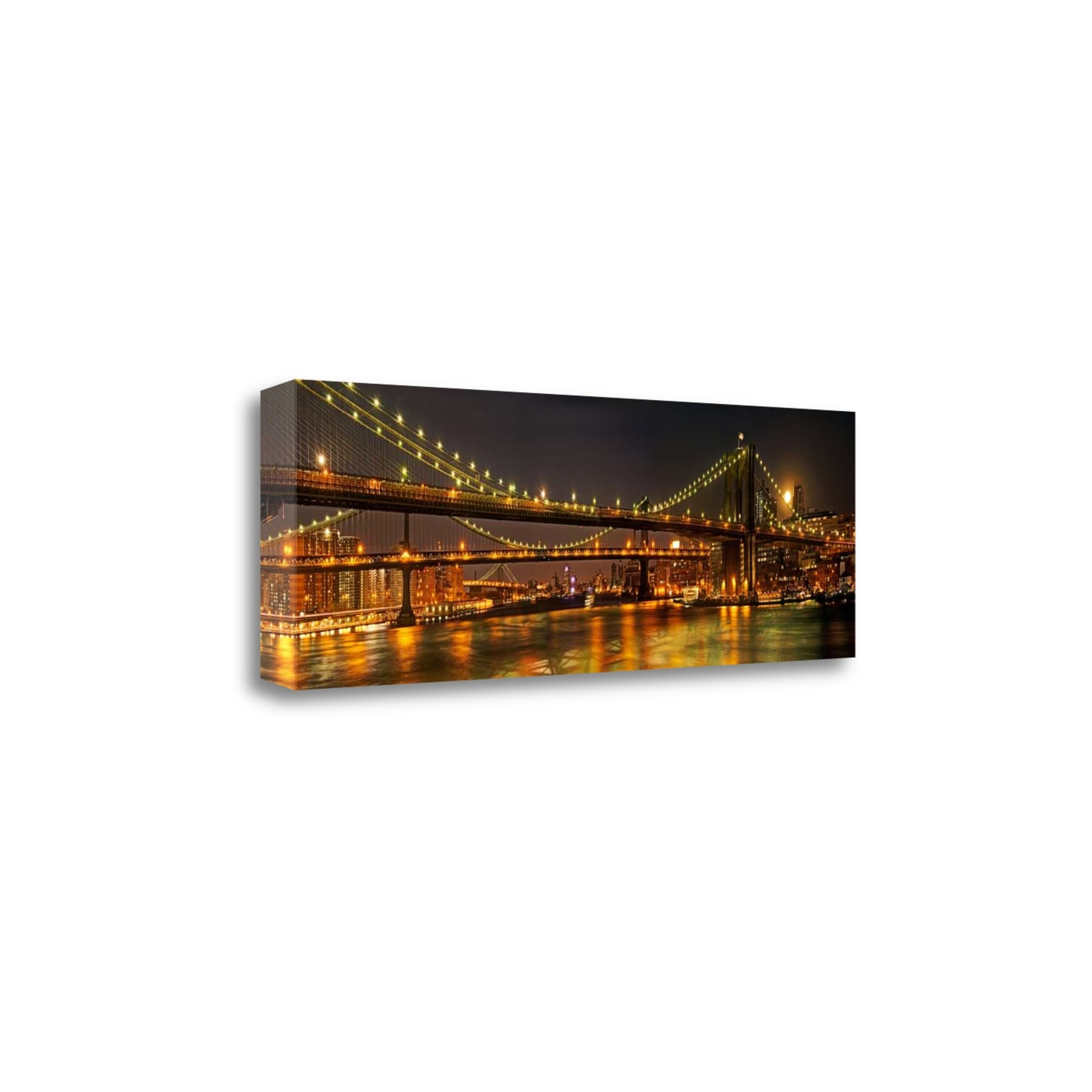 """Three Bridges By Natalie Mikaels, 39\"""" x 13\"""" Fine Art Giclee Print on Gallery Wrap Canvas, Ready to Hang"""