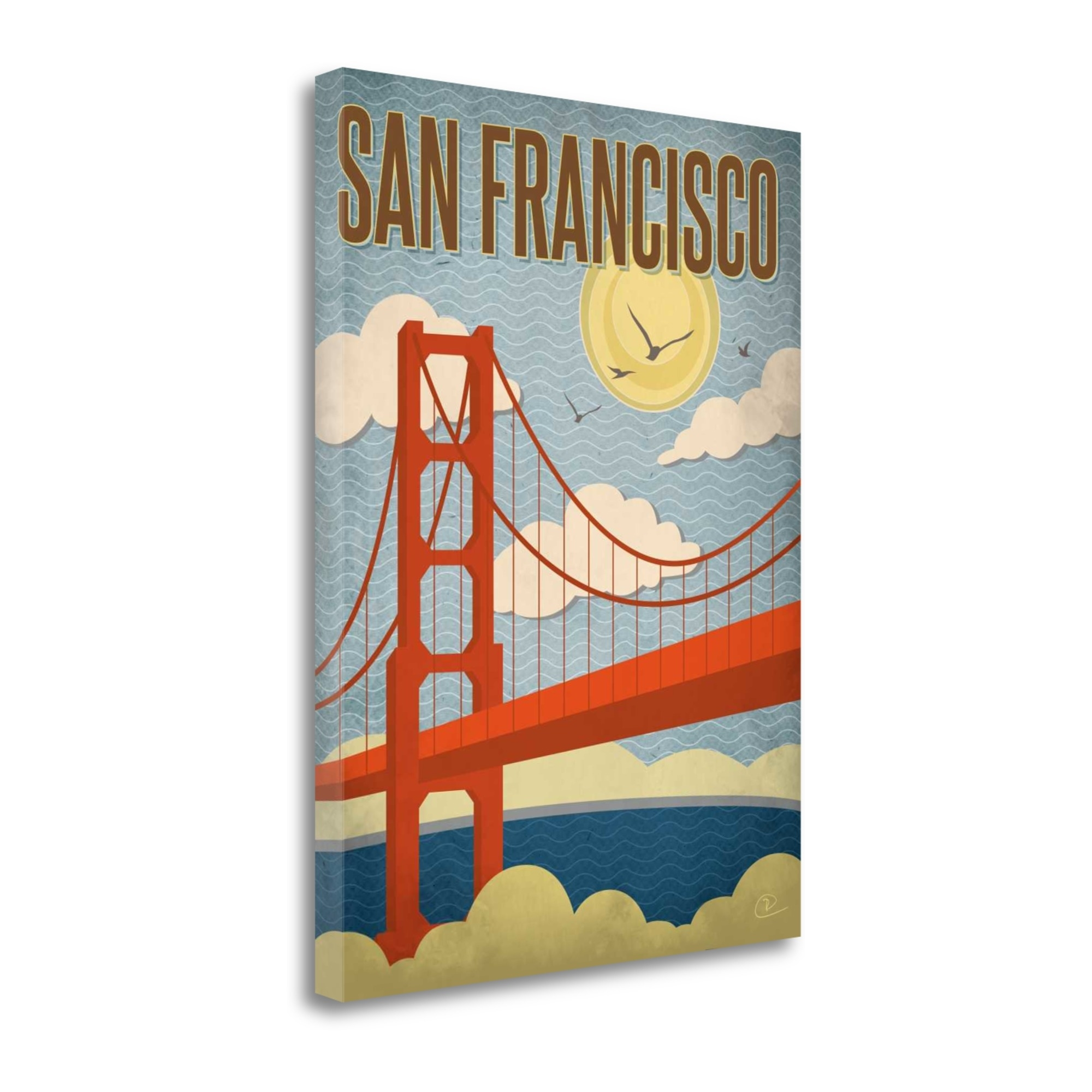 """San Francisco Golden Gate Bridge By Renee Pulve, 28\"""" x 37\"""" Fine Art Giclee Print on Gallery Wrap Canvas, Ready to Hang"""