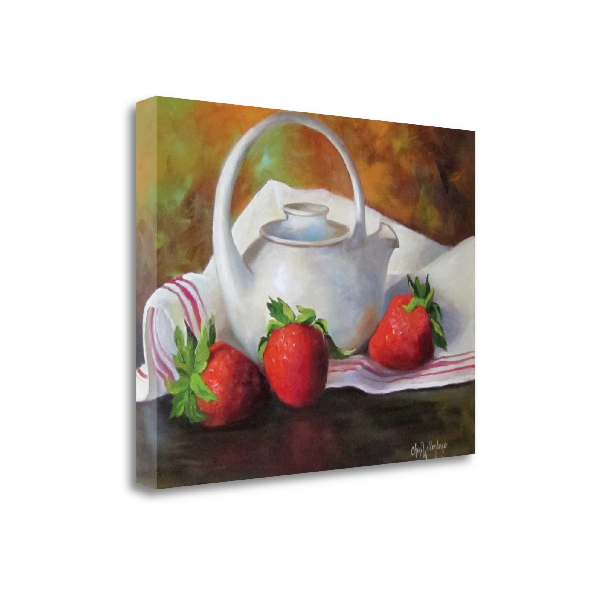 """Strawberries And White Teapot By Cheri Wollenberg, 20\"""" x 16\"""" Fine Art Giclee Print on Gallery Wrap Canvas, Ready to Hang"""