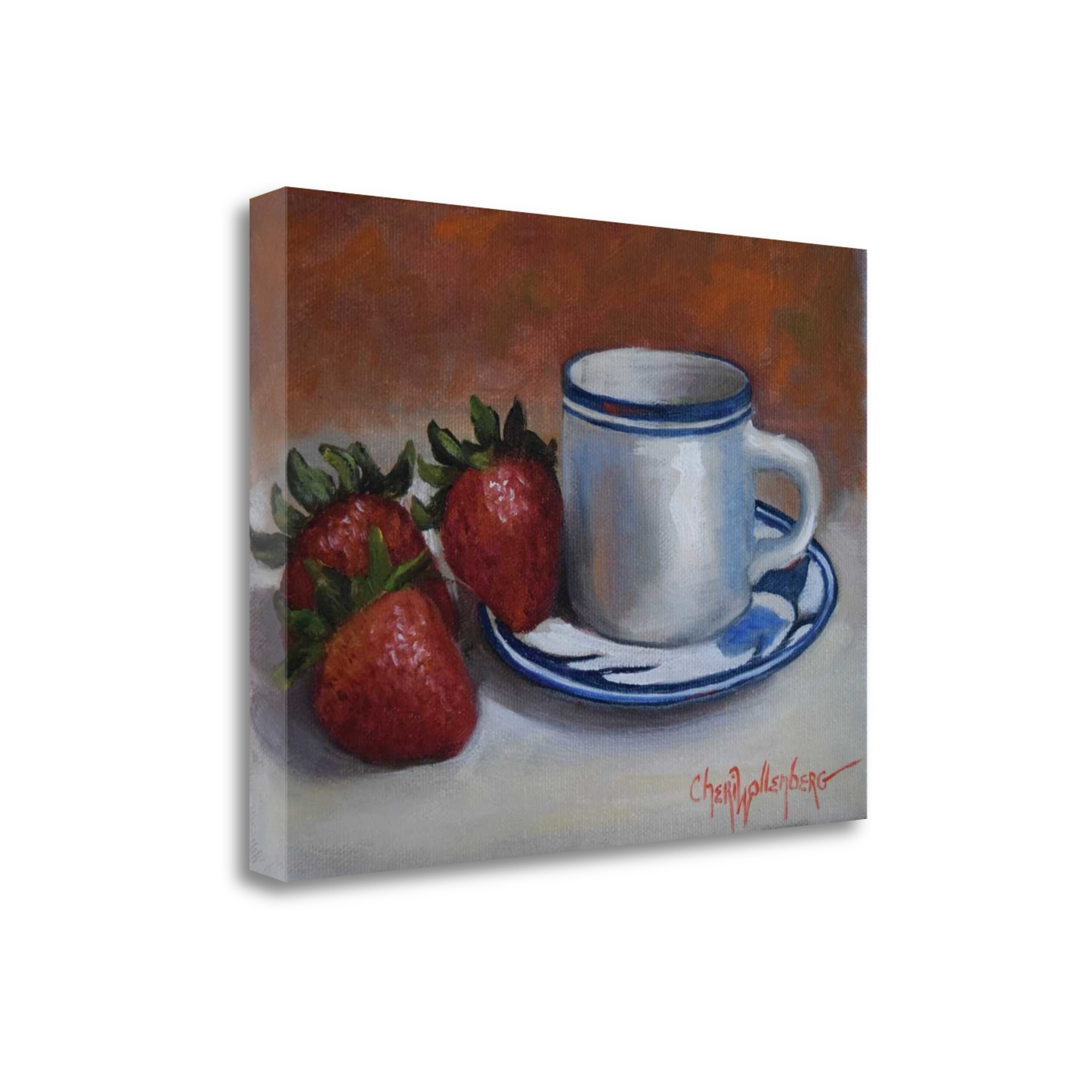 """Strawberries And Cup And Saucer By Cheri Wollenberg, 24\"""" x 18\"""" Fine Art Giclee Print on Gallery Wrap Canvas, Ready to Hang"""