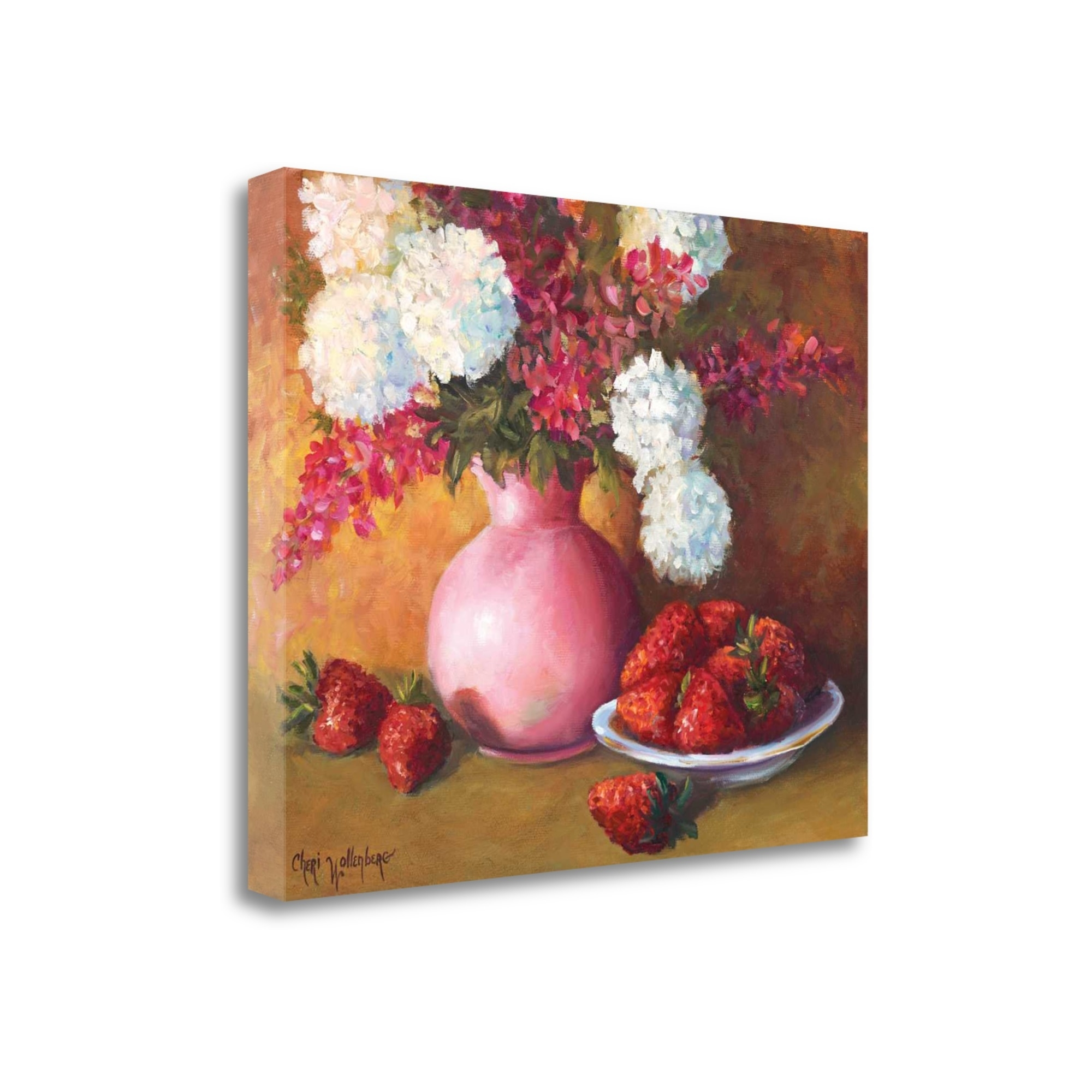 "Pink Vase And Strawberries By Cheri Wollenberg, 28"" x 22\"" Fine Art Giclee Print on Gallery Wrap Canvas, Ready to Hang"