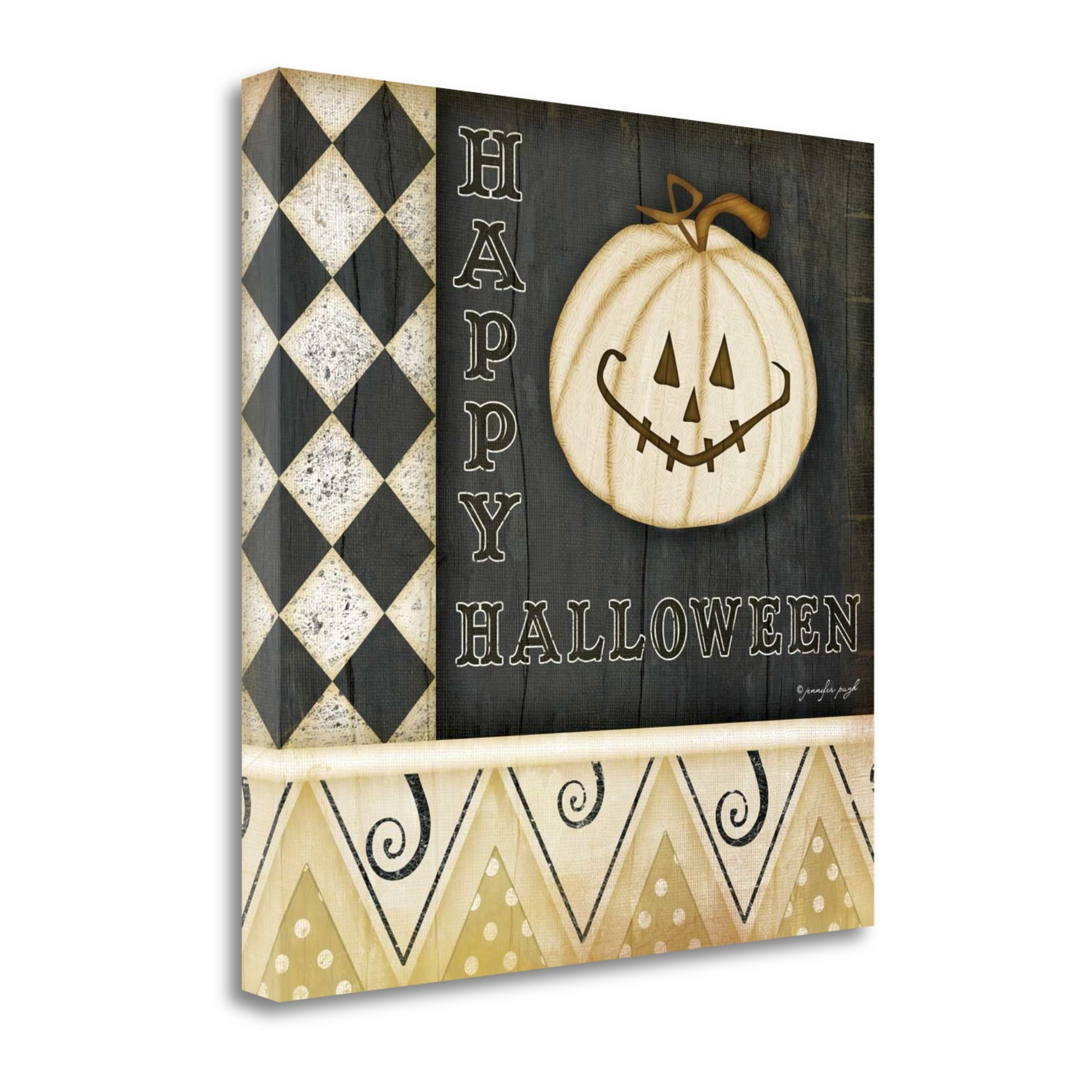 "Happy Halloween - Pumpkin By Jennifer Pugh, 24"" x 24\"" Fine Art Giclee Print on Gallery Wrap Canvas, Ready to Hang"