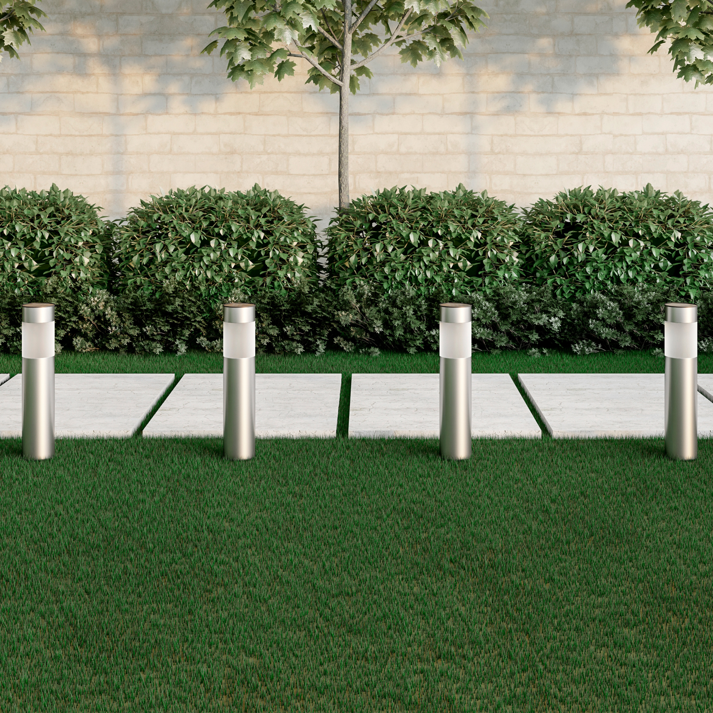 Solar Path Bollard Pillar Lights, Set of 6 Stainless Steel Outdoor Stake Lighting for Garden Landscape