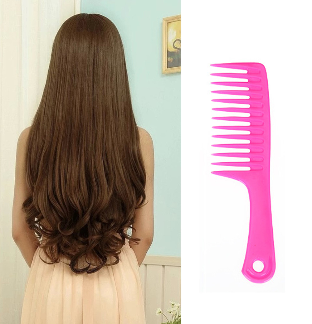 Wet Haircut Hair Comb Hairdressing Plastic Detangler Handle Wide-tooth Comb