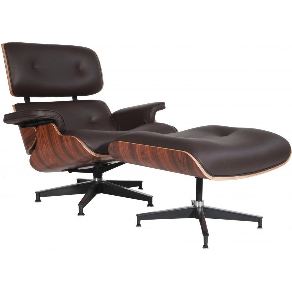 eMod - Mid Century Eames Style Lounge Chair & Ottoman Replica Italian Leather Brown Palisander