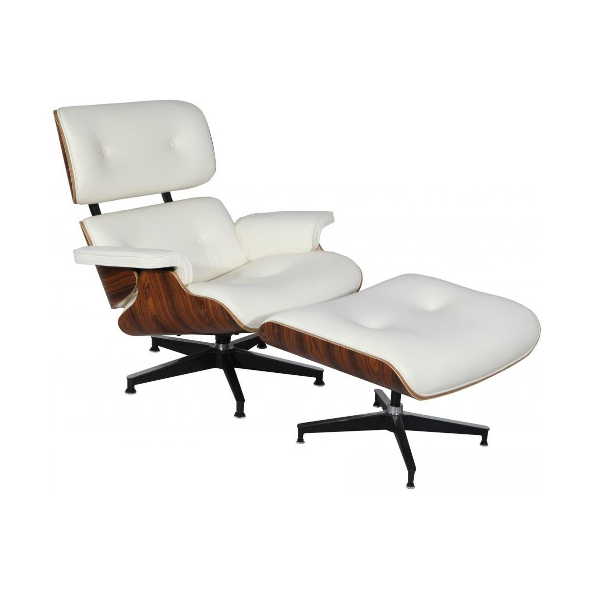 eMod - Mid Century Eames Style Lounge Chair & Ottoman Replica Italian Leather White Palisander