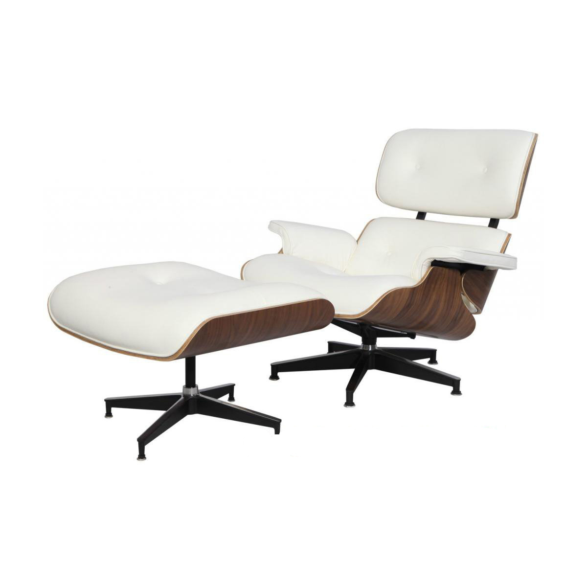 eMod - Mid Century Eames Style Lounge Chair & Ottoman Replica Italian Leather White Walnut