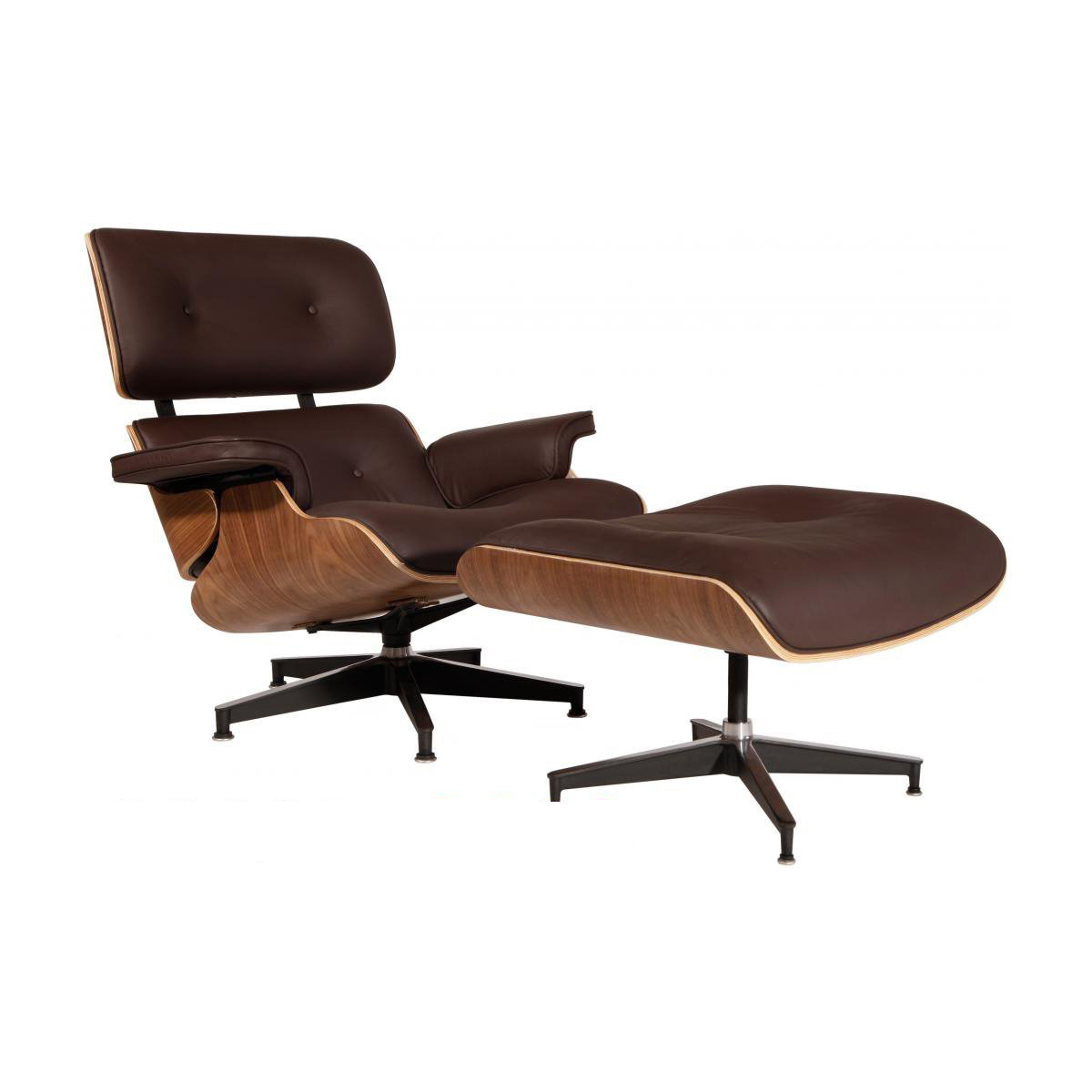 eMod - Mid Century Eames Style Lounge Chair & Ottoman Replica Italian Leather Brown Walnut
