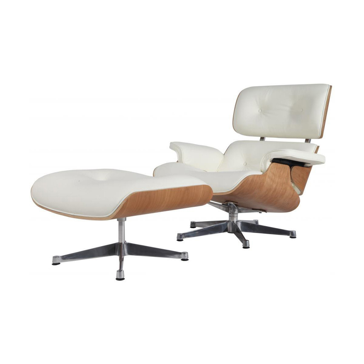 eMod - Mid Century Eames Style Lounge Chair & Ottoman Replica Italian Leather White Ash