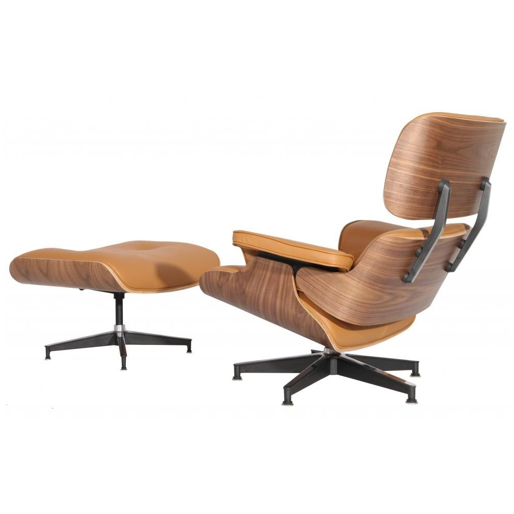eMod - Mid Century Eames Style Lounge Chair & Ottoman Replica Italian Leather Terracotta Walnut