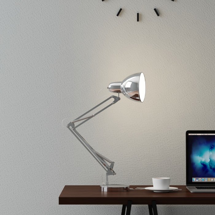 Architect Desk Lamp- LED Task Light with Adjustable Swing Arm for Home and Office- Includes Energy Efficient Light Bulb (Metal Chrome)