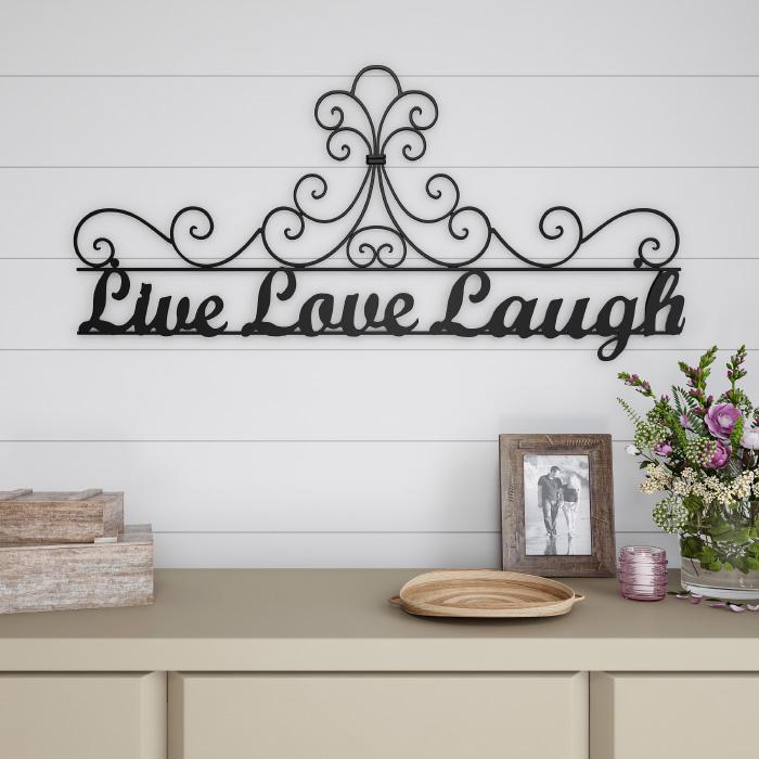 Metal Cutout-Live Laugh Love Decorative Wall Sign-3D Word Art Home Accent Decor-Modern Rustic