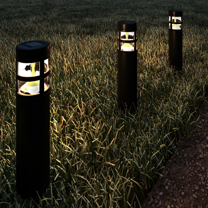 Solar Path Bollard Lights Set of 8 Outdoor Stake Lighting for Garden, Landscape, Yard, Patio, Deck, Driveway, Walkway (Black)