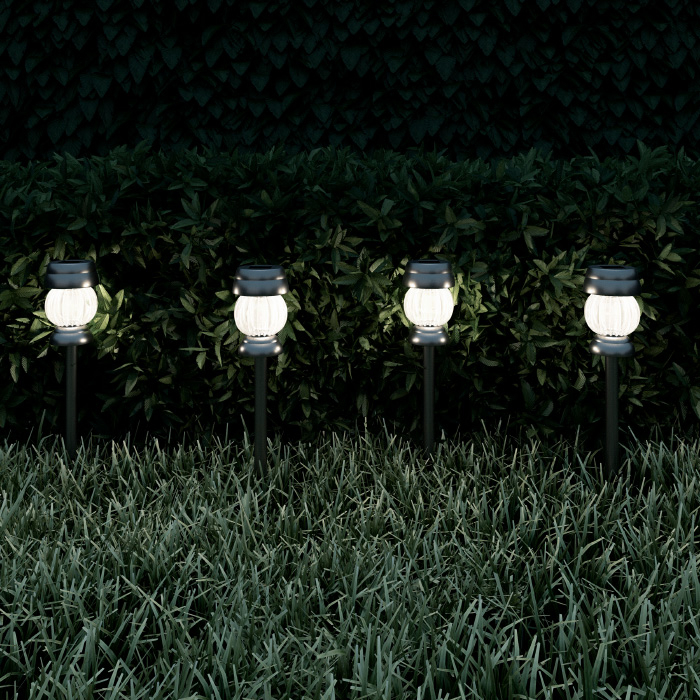 Solar Path Lights Stainless Steel Outdoor Stake Lighting for Garden, Landscape, Patio, Driveway, Walkway- Set of 4 (Silver)