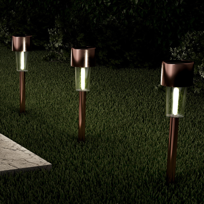 Solar Path Lights Stainless Steel Outdoor Stake Lighting for Garden, Landscape, Patio, Driveway, Walkway- Set of 12 (Bronze)