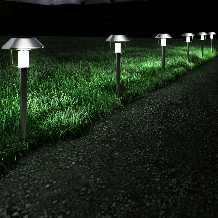 Solar Pathway Lights Stainless Steel Outdoor Stake Lighting for Garden, Landscape, Yard, Patio, Driveway, Walkway- Set of 6