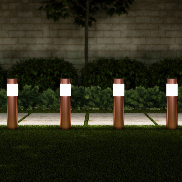 Solar Path Bollard Lights, Set of 6 Stainless Steel Outdoor Stake Lighting for Garden, Landscape, Yard, Driveway (Copper)