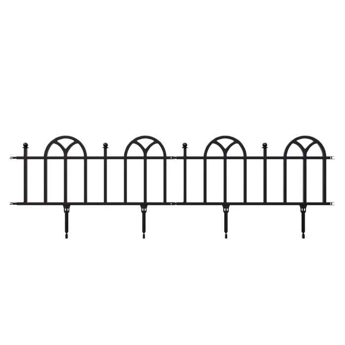 Garden Edging Border- Flower Bed Edging for Landscaping- Victorian Fence, 10 Piece Set of Interlocking Outdoor Lawn Stakes